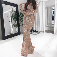 Gold Elegant Sequined Vestido Full Sleeved Party Dress Floor Length Bodycon Maxi Dress Evening Gown Autumn