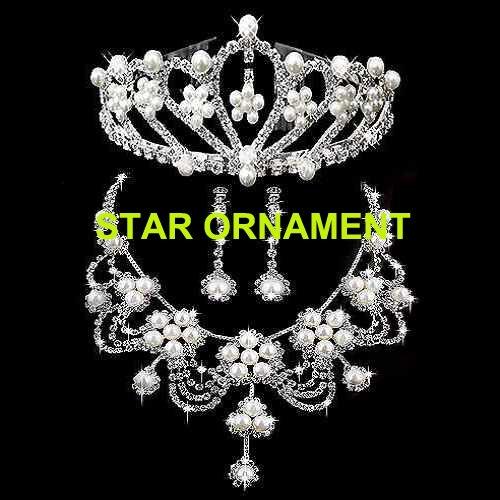 2016 New Hotsale Handmade Fashion Silver plating Crystal Rhinestone Bridal Pearl Wedding Jewelry Set, item NO: CR007