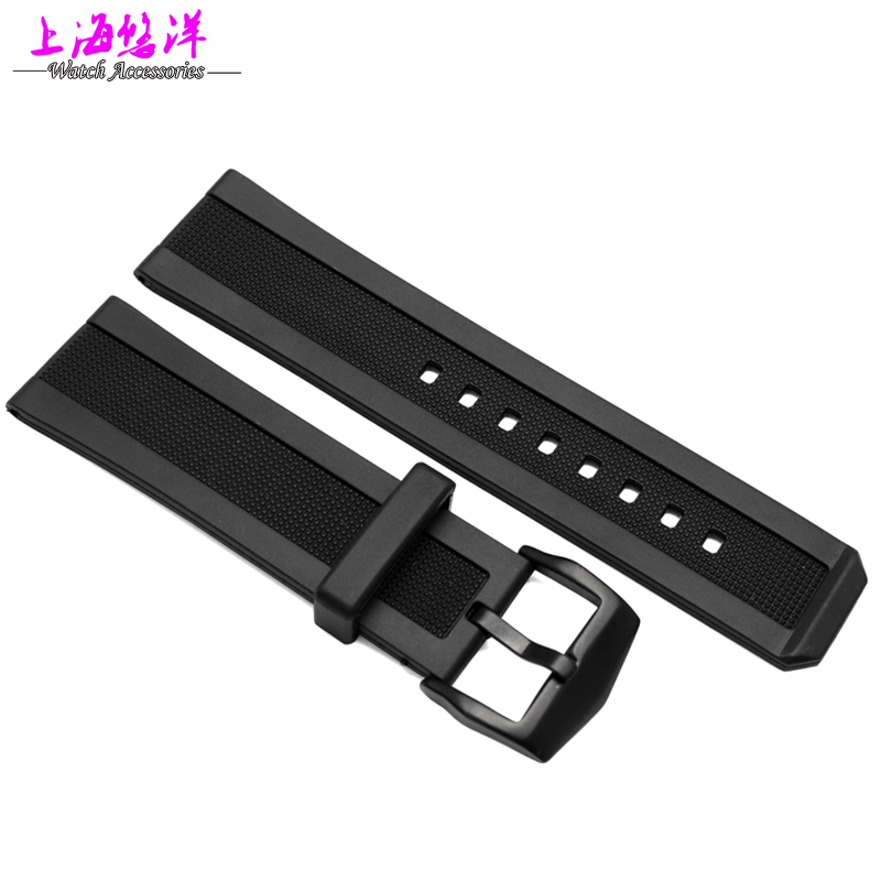 2016 New watchbands High Quality Soft Silicone Sweatband Strap Buckle Wrist Watch Band 24mm black Free shipping high quality soft sweatband leather strap steel buckle wrist watch band 3522 brand new luxury free shipping