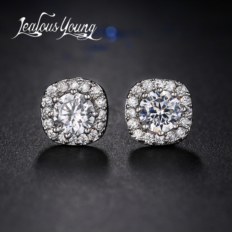 Fashion Round Cubic Zirconia Stud Earrings For Women Square CZ Crystal Stud Ear Earring Girl Jewelry Gift AE179