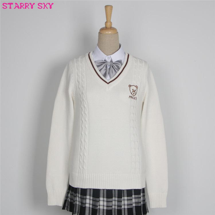 Japanese Campus Pullover Lovers Sweater Man Women Long Sleeve Girls Clothes British Style Sweaters Jk School Uniform Embroidered