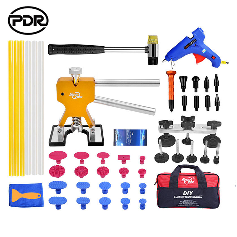 PDR Tools Paintless Dent Repair Tools Dent Removal Dent Puller Tool Kit Lifter Pulling Bridge Fungi Glue Tabs Hammer Tools  pdr rods kit with slider hammer dent lifter bridge puller set led line board glue stricks pro pulling tabs kit for pop a dent