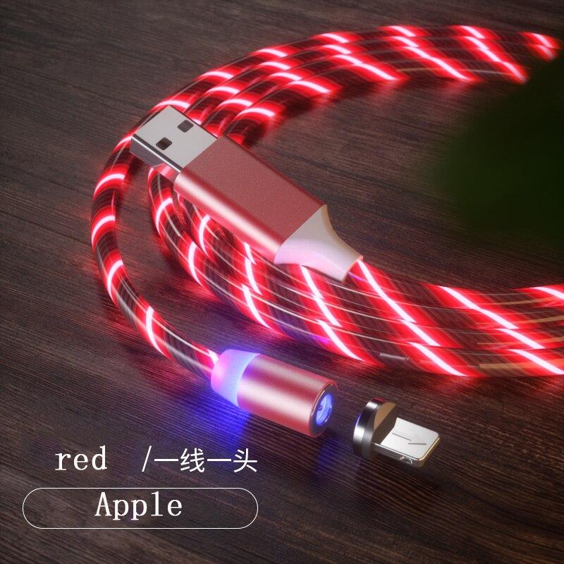 1 м Магнитный зарядный кабель для мобильного телефона, usb type C, светящийся провод для передачи данных для iphone Samaung huawei, светодиодный Micro Kable - Цвет: red for iphone