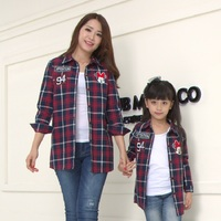Mother And Daughter Long Sleeve Tshirts Checks Shirt Family Clothes Autumn Cartoon Mickey Family Look Comfortable