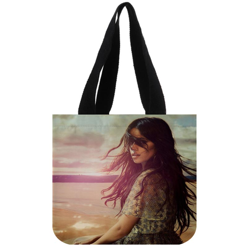 US $15.19 20% OFF Custom Camila Cabello Reusable Handbag Women Shoulder Cloth Pouch Foldable Large Linen Bag Shopping Bags Painting Travel in