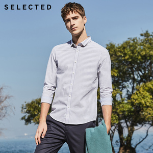 Image 3 - SELECTED new cotton striped mens slim business casual long sleeved shirt S