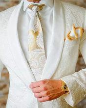 Men Suit jacquard Groom Tuxedos Shawl Lapel Suits Wedding suits ( jacket+Pants) and blazers jacket pants set for wedding