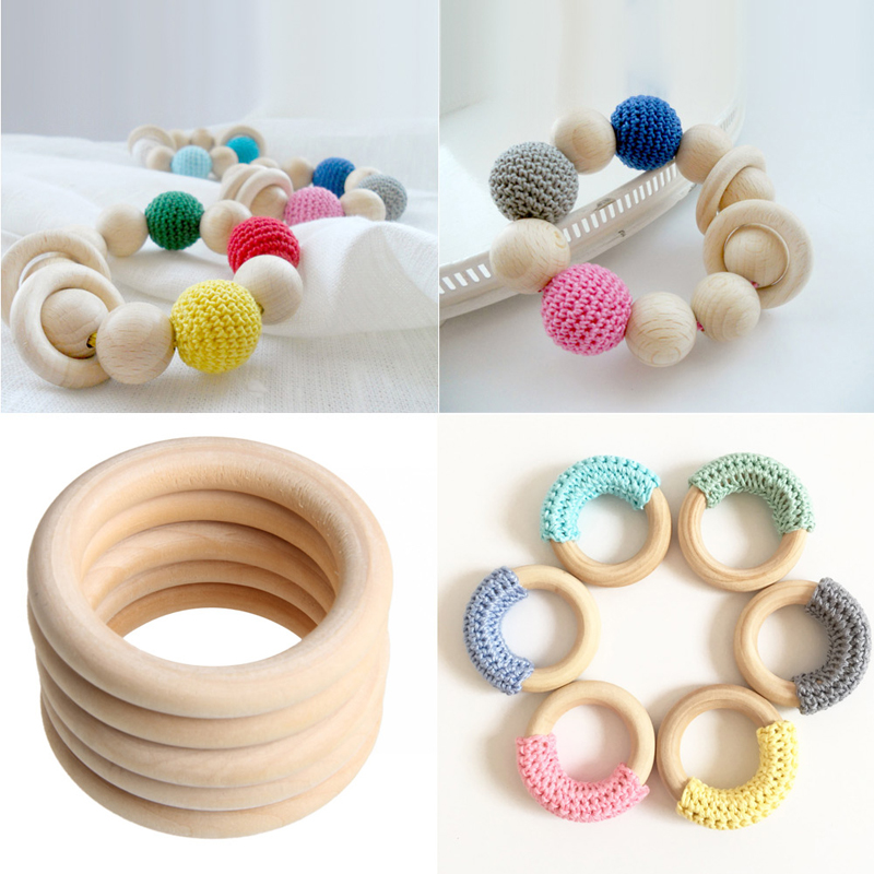 5pcs 70мм Baby Natural Teething Rings Wooden Necklace - Балаға қамқор болу - фото 3