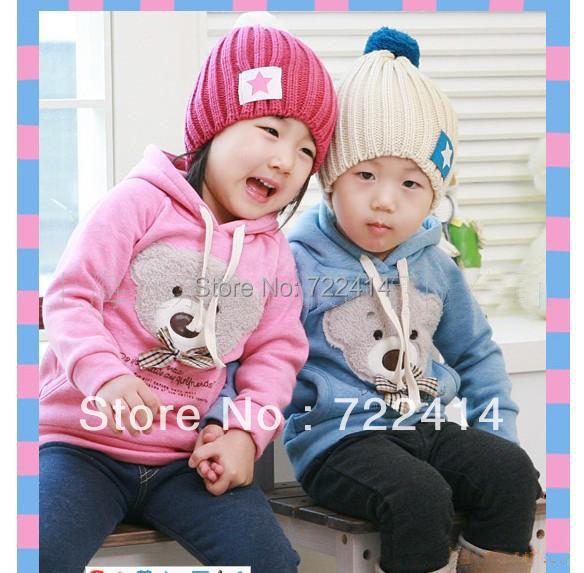 Envío libre de Los Niños ropa nueva 2014 otoño invierno oso de los cabritos hoodies niñas jersey sudadera prendas de vestir exteriores de la muchacha de la manera