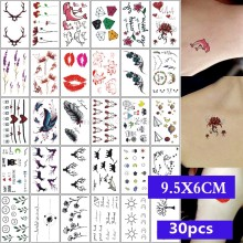 30 Pièces/lot Autocollants De Tatouage Temporaire De Corps De Beauté Maquillage Imperméable D'art D'halloween Sanglante Cool Absurde Tatoo