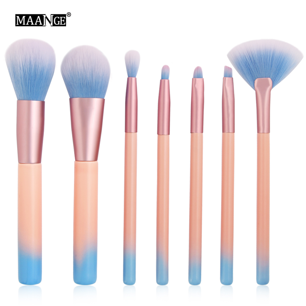 Pro 7pcs Cosmetic Makeup Brush Sets Tools Cosmetic Brush Foundation Eyeshadow Eyeliner Lip Powder Face Fan Make Up Brush Kit new lcbox professional 16 pcs makeup brush set kit pouch bag cosmetic brush kit cosmetic powder foundation eyeshadow brush tools