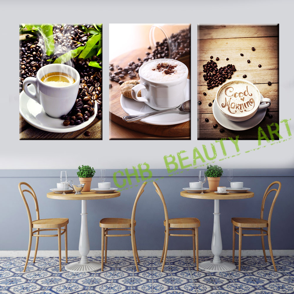 3 panel coffee tea modern canvas print painting wall art for Tea and coffee wall art