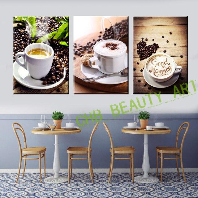 Aliexpress Com Buy 4 Panels Modern Printed Coffee Canvas: 3 Panel Coffee Tea Modern Canvas Print Painting Wall Art