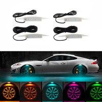 Newest Car Led Wheel Lights Hub Lamp Decorative Atmosphere Flash Strobe Breath Lamp Eyebrow LED Lights