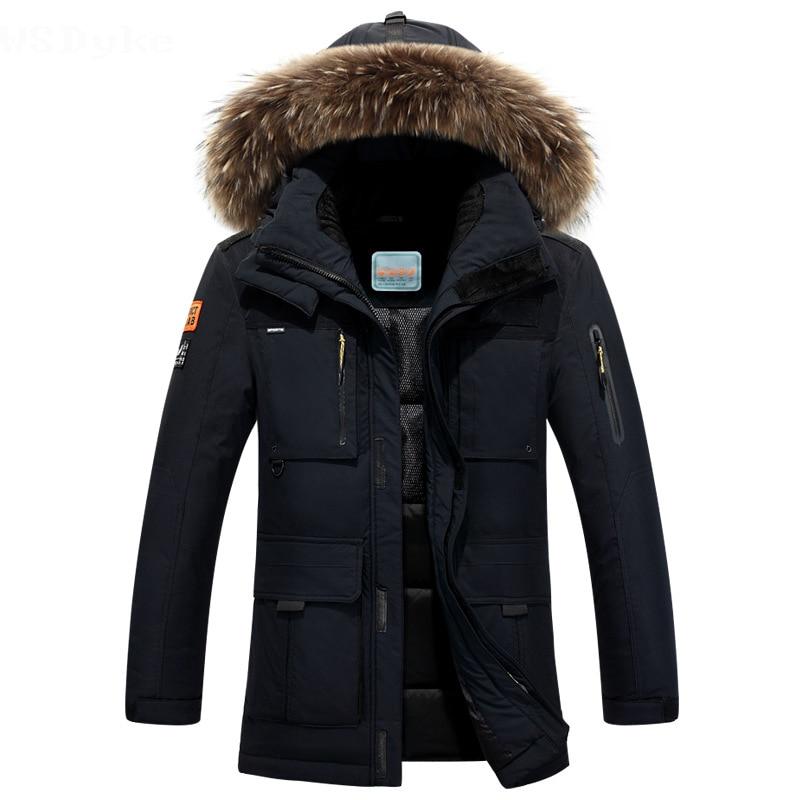 Новинка 2017 года длинные может выдержать-40 градусов зимняя куртка Для мужчин большой натуральный меховой воротник с капюшоном утка Подпушка куртка большой Размеры 4xl