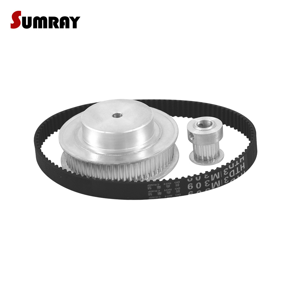 SUMRAY 3M Timing Pulley Belt Kit Reduction 1:4 3M 15T 60T Toothed Pulley Wheel HTD3M 318 Timing Belts For Transmission все цены