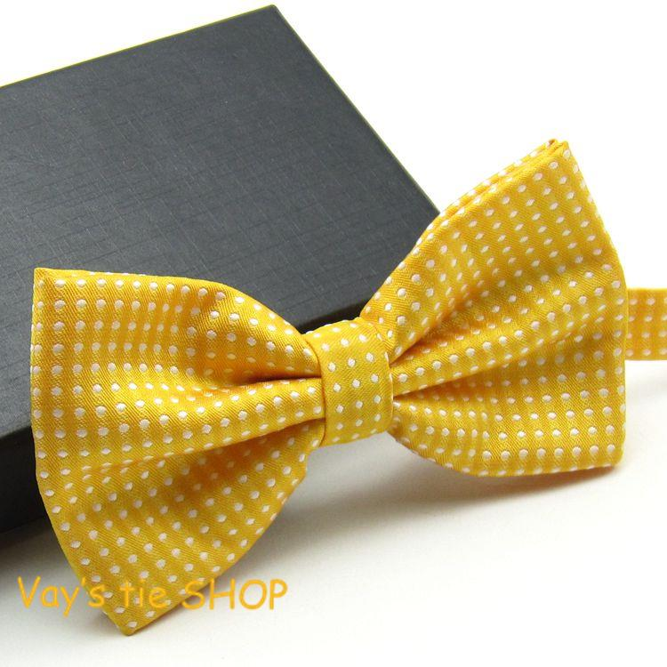 2014 New XMAS Gifts Classic Mens Fashion Dull Jacquard White Dot Leisure Bowtie Wedding Tuxedo Bow Ties Freeshipping Gold Yellow