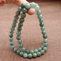 Мьянма Изумрудное Jade Цепочки и ожерелья бусинами Сертифицированный Природный Класс бирманский жадеит 7 мм лед зеленый высокое качество Сем