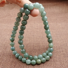 CYNSFJA Real Certified Natural Grade A Burmese  Jadeite Charms Amulets 7mm Bead Jade Necklace Ice Green High Quality Fine Jewelry Best Gifts цена