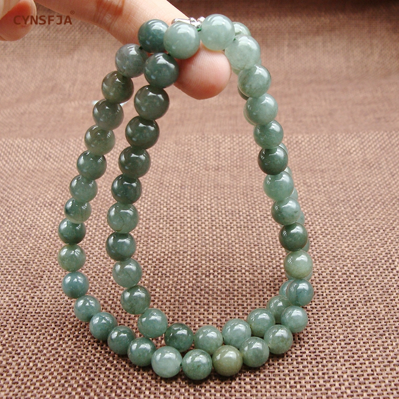 Myanmar Emerald Jade Necklace Beads Certified Natural A Grade Burmese Jadeite 7mm Ice Green High Quality Family Friends Gifts selling jewelry xinjiang hetian jadeite jadeite overlord pendant natural jadeite men 18 arhat necklace pendant