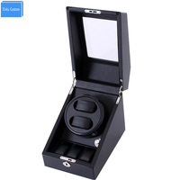Black wood leather automatic watches winder box lock rotator 2 slots 3 drawer movement ratator pillow boxes winder accessories