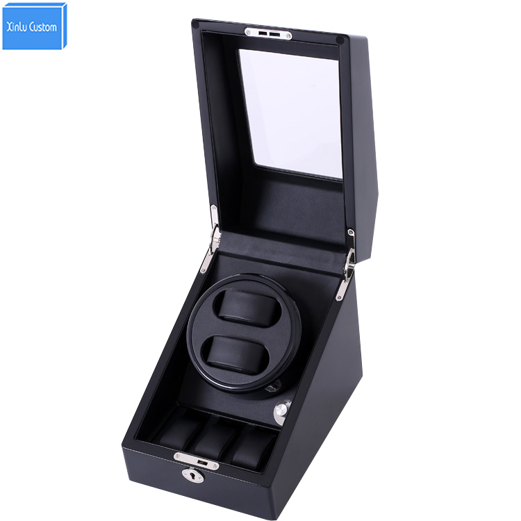 Black wood leather automatic watches winder box lock rotator 2 slots 3 drawer movement ratator pillow