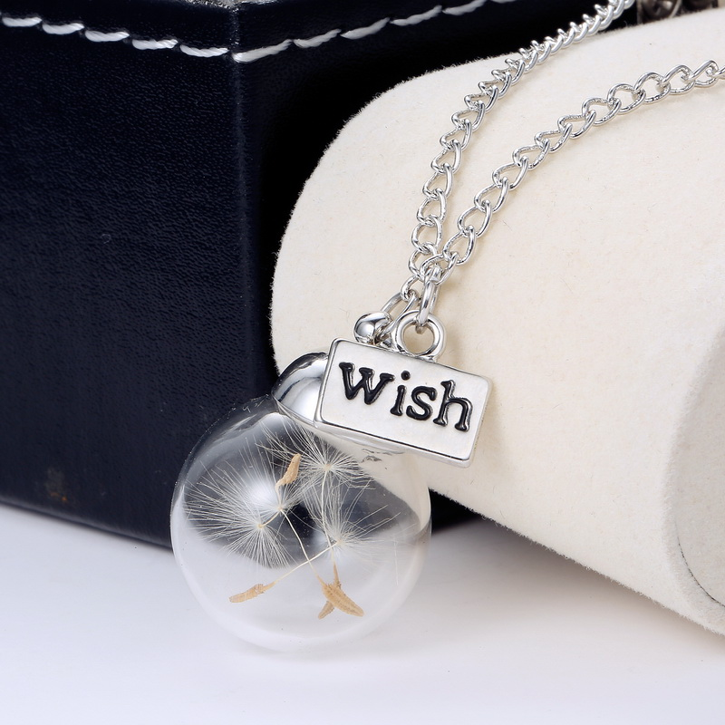 SILVER PLATED GIFT Real Dandelion Seed Glass MAKE A WISH Bottle Pendant Necklace