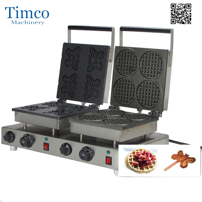 Hot Professional Waffle Cone Maker Stainless Steel Commercial Electricwaffle Machine 110/220V With Custom Plate
