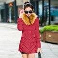 2016 novas mulheres jaqueta de inverno para baixo acolchoado-algodão de médio-longo grande gola de pele casaco de inverno mulheres de roupas plus size tamanho amassado jaqueta