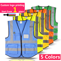Multiple Pockets Building Construction Vest Safety Cycling Fishing Reflective Safety Clothing Sanitation Reflective Clothing