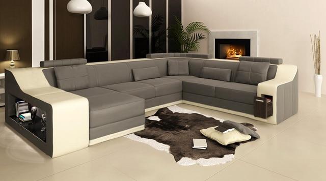 2015 Derniere Design En Forme De U En Cuir Canape Canape Tissu