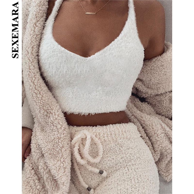 BOOFEENAA Cute Sexy Fuzzy White Crop Top Cami Women Casual Tops Deep V Neck Backless Fluffy Ladies Tank Tops Fashion 2019 C83H23