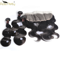 Ross Pretty Brazilian body wave hair Double Draw Lace Frontal with Bundles Remy Natural human hair Weave bundles with frontal