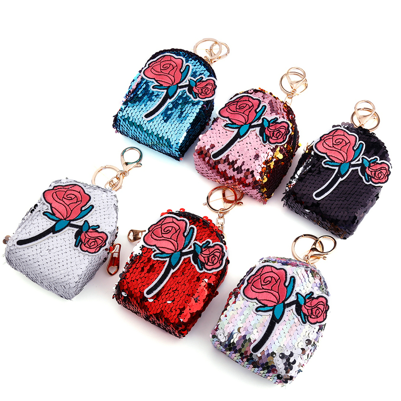 Detail Feedback Questions about Junlead Sparkly sequines women rose flower coin  purse pocket change wallet for girls Key Chains cute kawaii purse card ... 6bc05e8216b7