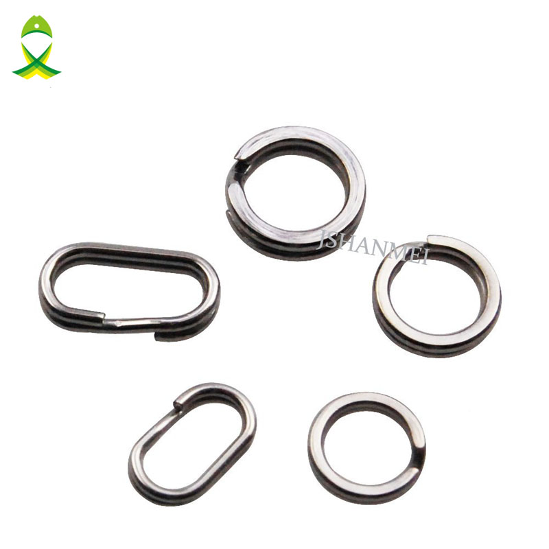 JSM 200Pcs/lot Stainless Steel Round Oval DOUBLE Split Ring Fishing Tackle Connectors double loop 4mm-10mm