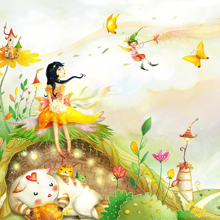 Christmas fairy wallpaper promotion shop for promotional for Cartoon mural wallpaper