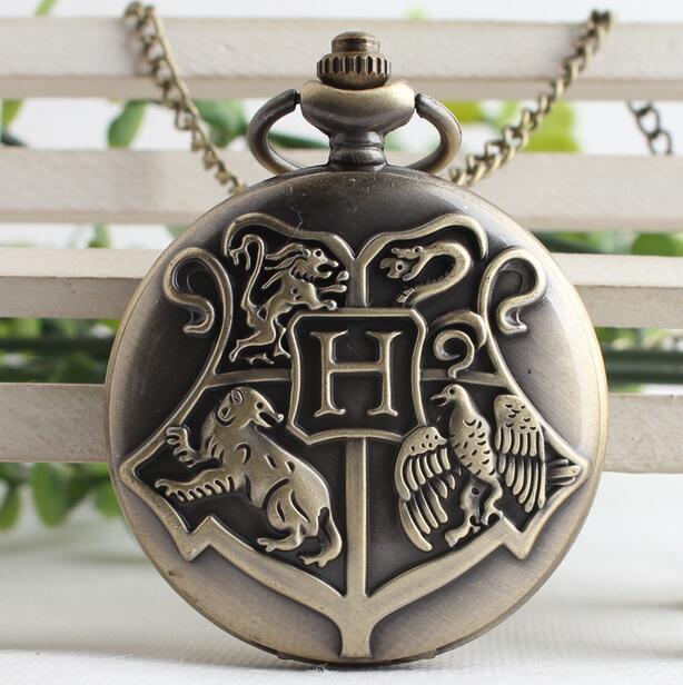 Hogwarts School Badge Harry Potter Pocket Watch Quartz Bronze Black Hollow men and woman Necklace pocket watches gift