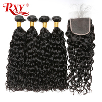 More Curly Human Hair Bundles With Closure RXY Hair Brazilian Hair Weave Bundles 3 Bundles With