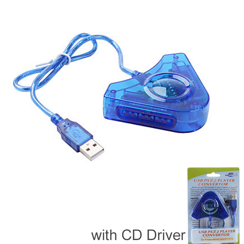 Dual Player Use for PS2 to PC USB Converter Adapter Cable For PS2 Dual Playstation 2 PC USB Game Controller Adapter + CD Driver usb cable