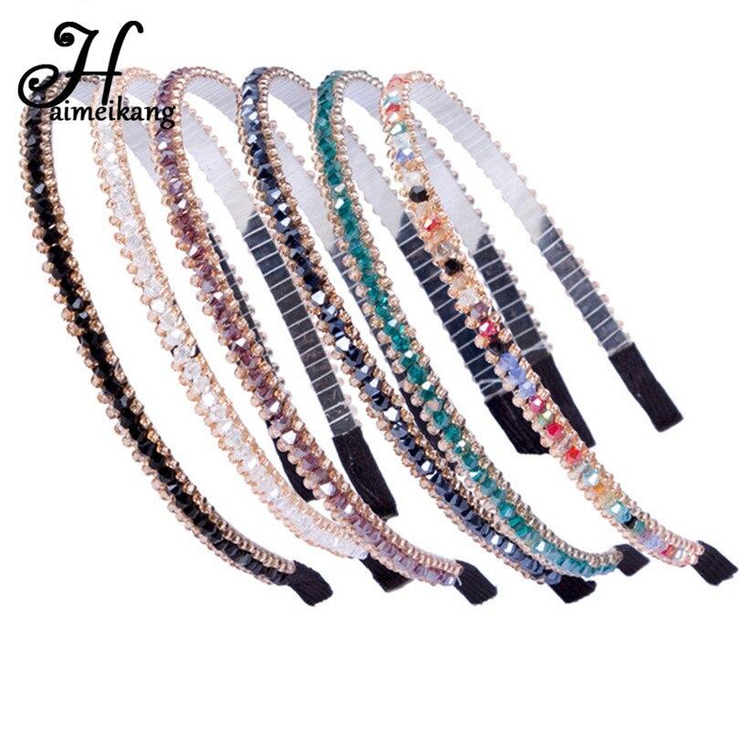 Haimeikang Women Fashion Crystal Beaded Hair Hoop Headband   Headwear   for Girls Rhinestone Hairbands Hair Accessories Gifts