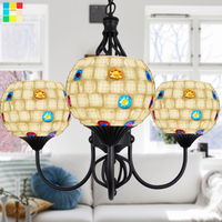 Multiple Chandelier light Room Restaurant mosaic three chandelier chandelier glass lamp Mediterranean Garden DF129