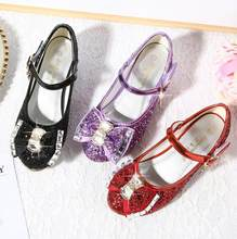 Children Glitter Rhinestone Shoes Girls dance Shoes Square high-heeled Party Princess Shoes red black purple 26-38 TX02(China)