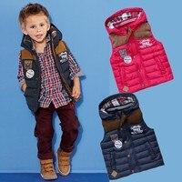 赤ちゃん男の子秋冬厚みのフード付きのチョッキ子供ファッション暖かいベスト子良い品質ウインドブレーカーアウタージャケッ
