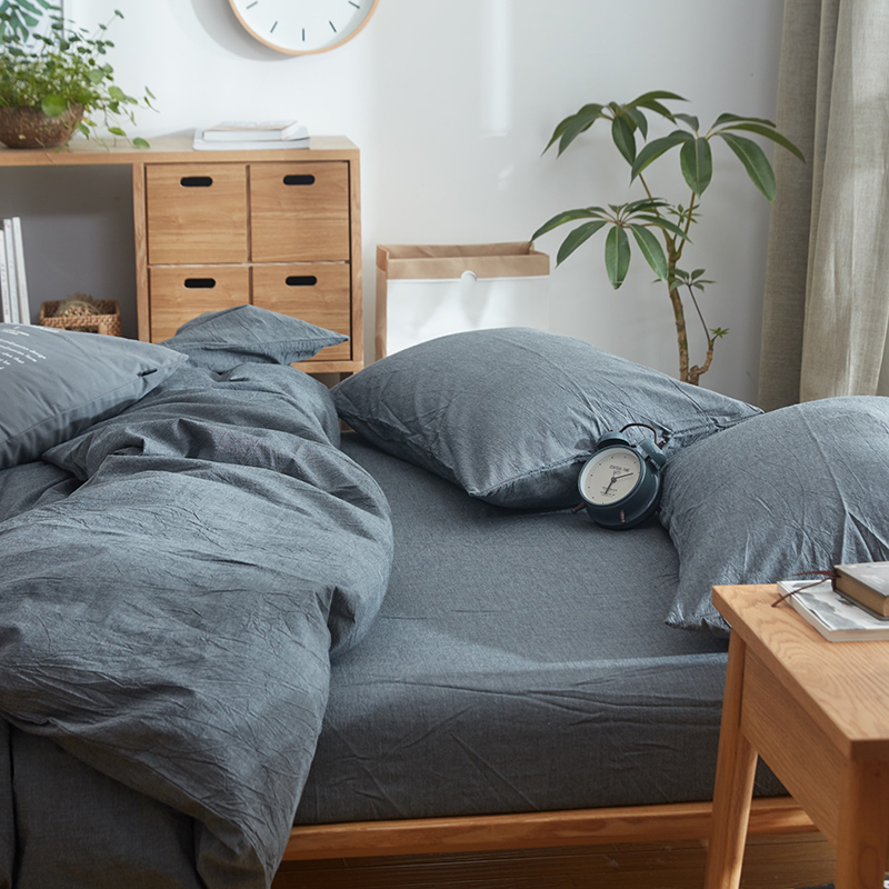 Delightful 100% Cotton Vintage Style Wrinkle Fabric Fitted Sheets 4pcs Dark Grey Bed  Cover Set Menu0027s Bedding Sets 150cm 180cm Bed In Bedding Sets From Home U0026  Garden On ...