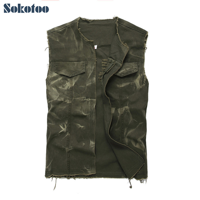 Sokotoo Men's army green o-neck open stitch denim vest Sleeveless holes ripped washed fringe tank top Waistcoat Outerwear