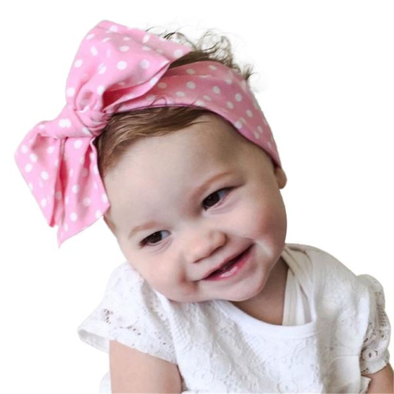 Sweet Girl Bohemia Elastic Stamp Bow Hairband Turban Rabbit Knot Dot Print  Headband Hair Band Accessories Candy Color #TW