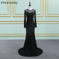 2018 sexy Mermaid Evening Gowns Bateau Lace applique Court Train Black Backless Long sleeve Party Prom Dresses