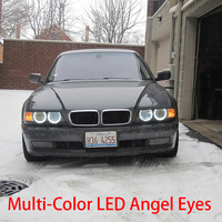 HochiTech Ultra bright 5050 SMD Multi Color RGB LED Angel Eyes Kit with remote control for BMW 7 Series E38 1994 01' car styling