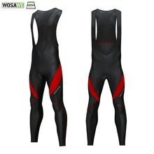 WOSAWE Mens Cycling Bib Tights 3D Padded Thermal Long Leggings MTB Bicycle Racing Trousers Pro Team Bike Clothing