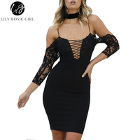 Lily Rosie Girl Sexy Black Lace Up Women Midi Dresses 2017 V Neck Pink Backless Dresses